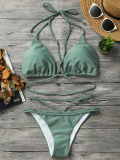 Braided Strappy Bikini Set - Green S