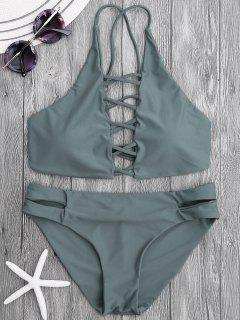 Tie Back Crisscross Strappy Bikini Set - Gris Ardoise S