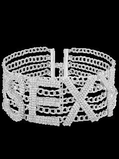 Collar Atractivo De La Aleación Del Rhinestone - Plata