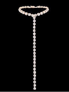Collar De Cadena Larga De Aleación De Rhinestoned - Dorado