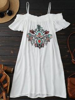 Floral Embroidered Cold Shoulder Mini Dress - White S