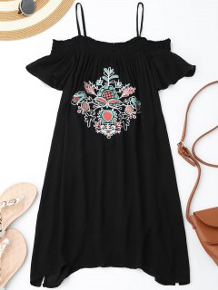 Floral Embroidered Cold Shoulder Mini Dress - Black S