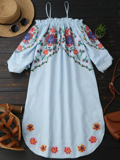Embroidered Cold Shoulder Casual Dress - Light Blue S