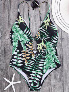 Bañador Con Relleno Con Estampado De Hojas Tropicales Con Escote Pico - Floral S