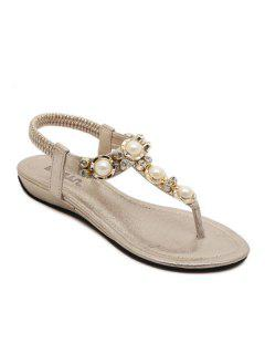 Faux Pearls Rhinestones Elastic Sandals - Golden 39