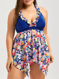 Halter Floral Skirted Plus Size Tankini Set - Blue 3xl