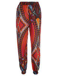 Pantalons Imprimés Tribaux à Haute Taille Avec Poches - Tangerine Xl