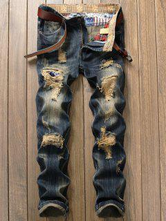 Destroyed Patch Design Frayed Hem Jeans - Denim Blue 38