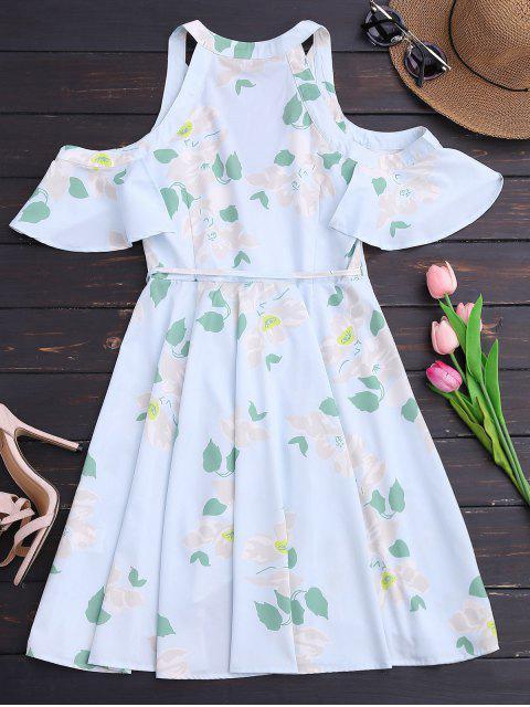 Ruffles Cold Shoulder Wrap Mini Dress - Floral XL Mobile