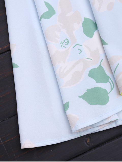 fancy Ruffles Cold Shoulder Wrap Mini Dress - FLORAL S Mobile