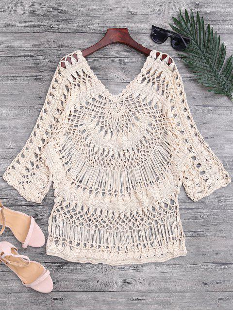 sale See-Through Crochet Cover Up Top - BEIGE ONE SIZE Mobile