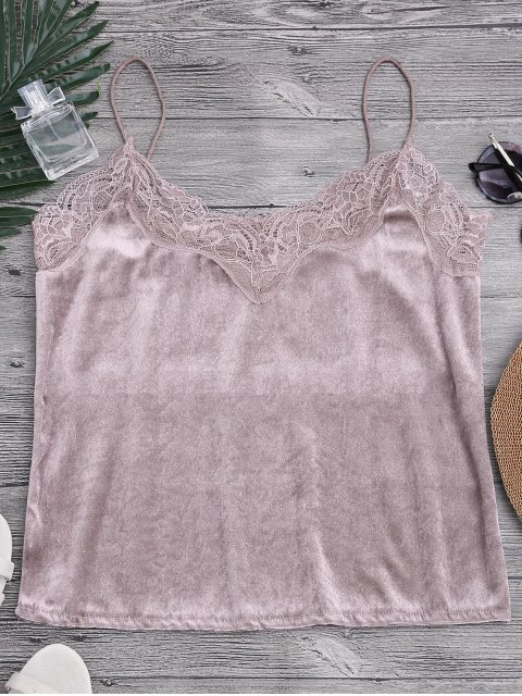 Lace Velvet Camisole Lounge Top - Pink M Mobile