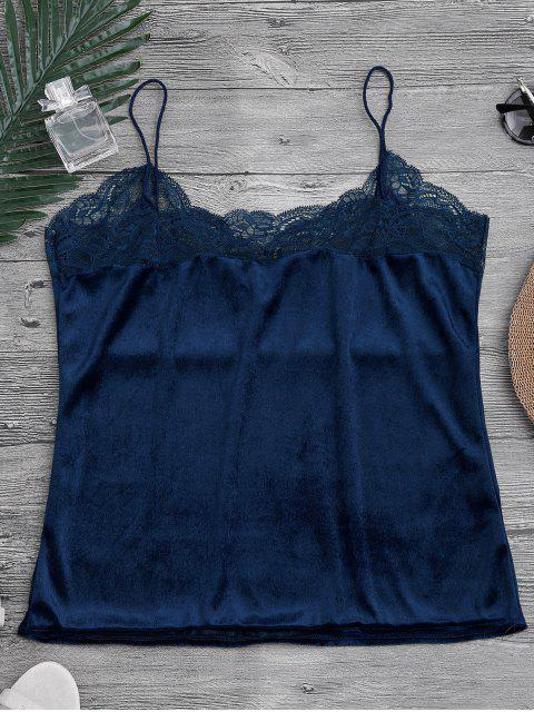 Haut de sommeil à bretelle en dentelle et velours - Bleu Cadette S Mobile