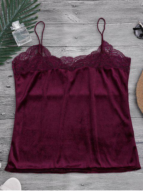outfit Lace Velvet Camisole Lounge Top - BURGUNDY S Mobile