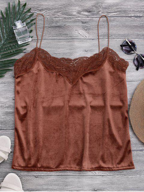 outfits Lace Velvet Camisole Lounge Top - DARK AUBURN L Mobile