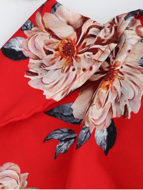 best Floral Popover Off The Shoulder Dress - RED M Mobile