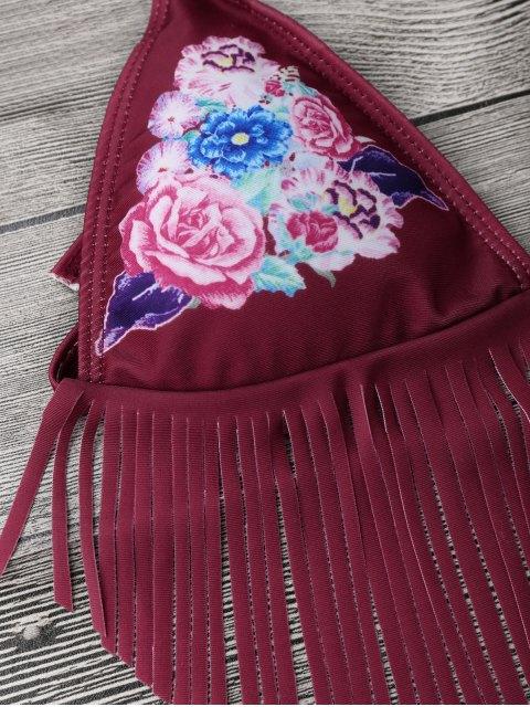 shop Floral Fringed Braided String Bikini Set - RED S Mobile