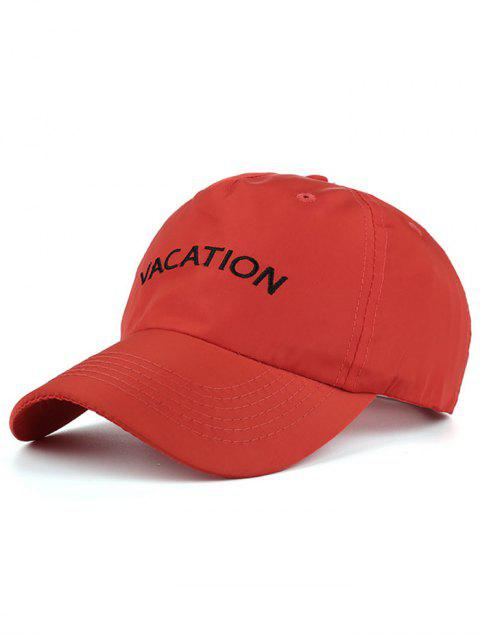 fancy Waterproof Letters Embroidery Baseball Hat - RED  Mobile
