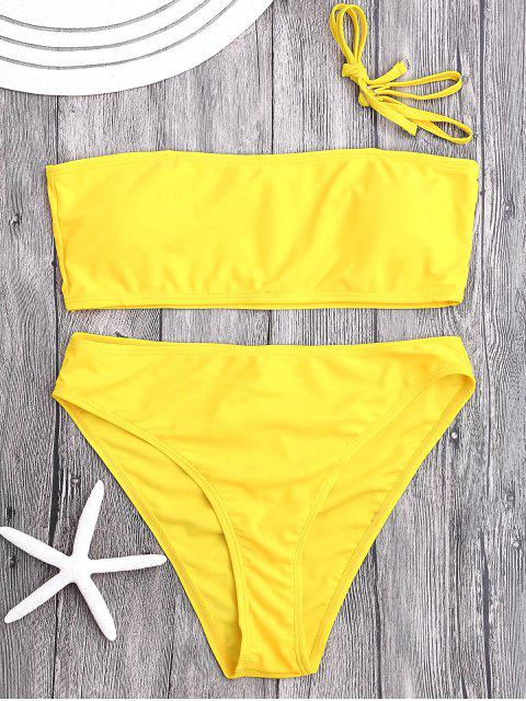 Conjunto de bikini con adornos de corte alto y acolchado - Amarillo S Mobile