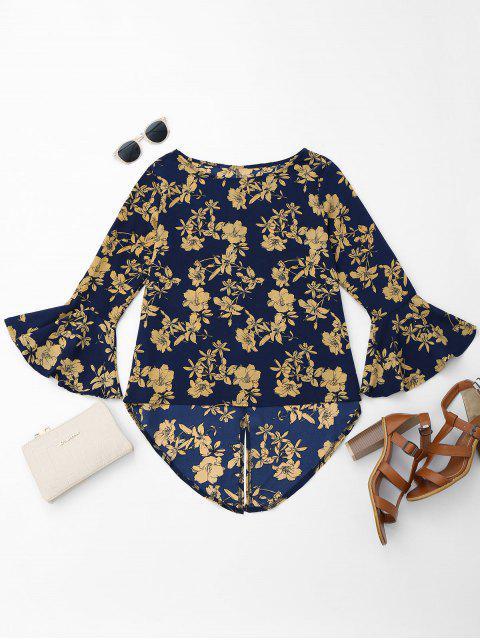 Floral blusa asimétrica de gasa - Cadetblue M Mobile
