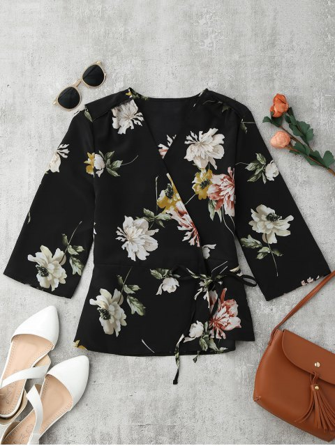 hot Floral Wrap Kimono Blouse - FLORAL M Mobile