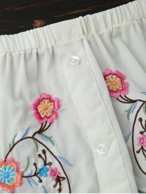 Blouse broderie à épaules dénudés et boutons - Blanc Cassé S Mobile