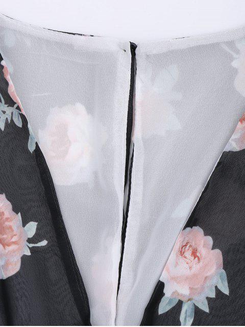 Manches longues Chiffon Floral Surplice Romper - Multi S Mobile