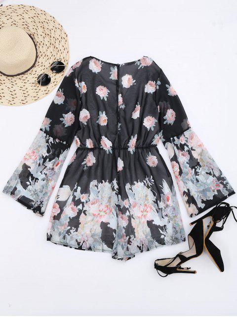 fancy Long Sleeves Chiffon Floral Surplice Romper - MULTI L Mobile