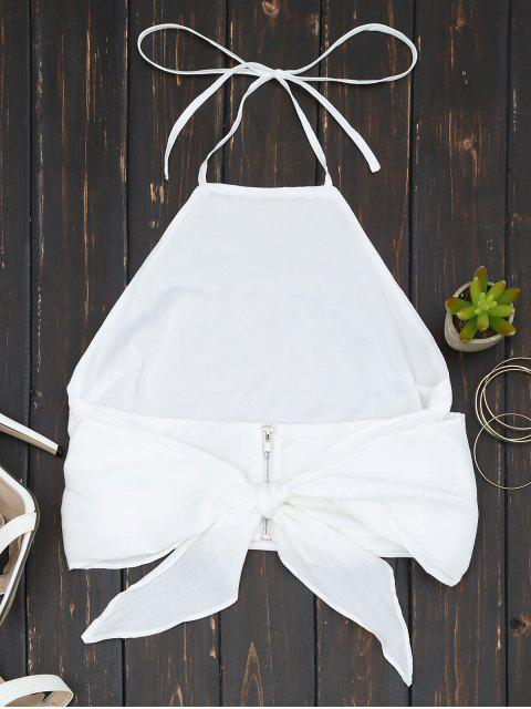 women High Neck Back Bowknot Cropped Tank Top - WHITE S Mobile