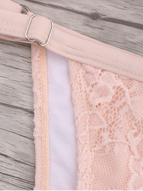 best Lace Overlay V String Bikini Set - PINK S Mobile