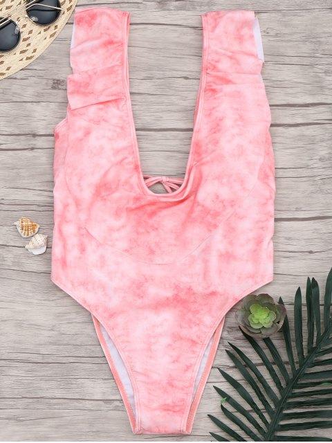 maillots de bain à une pièce à col plogeant à volants - ROSE PÂLE XL Mobile