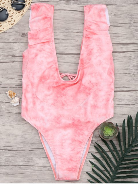 best Ruffle High Cut Plunge One Piece Swimsuit - PINK L Mobile