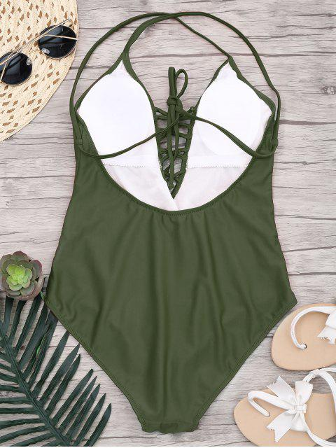 trendy Slimming Lacing One Piece Swimsuit - ARMY GREEN M Mobile