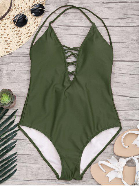 fashion Slimming Lacing One Piece Swimsuit - ARMY GREEN S Mobile