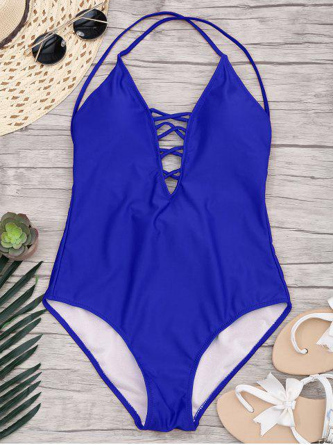 chic Slimming Lacing One Piece Swimsuit - SAPPHIRE BLUE XL Mobile