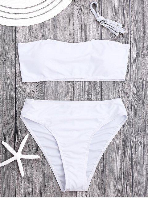 lady Padded High Cut Bandeau Bikini Set - WHITE S Mobile