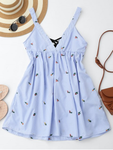 womens Embroidered Stripes Lace Up Casual Dress - STRIPE S Mobile