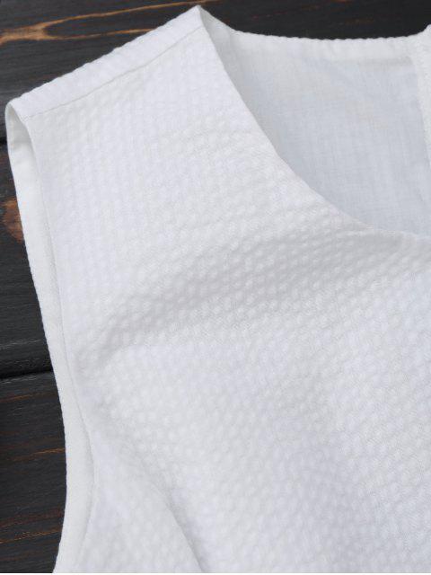 Robe rayée nœud papillon sans manche - Blanc S Mobile