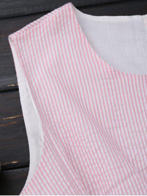 Robe rayée nœud papillon sans manche - Rose et Blanc S Mobile