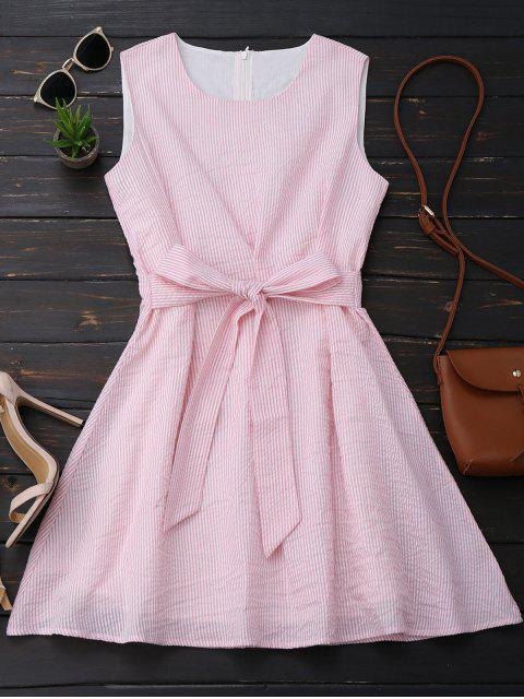 outfit Sleeveless Striped Bowknot Dress - PINK AND WHITE S Mobile