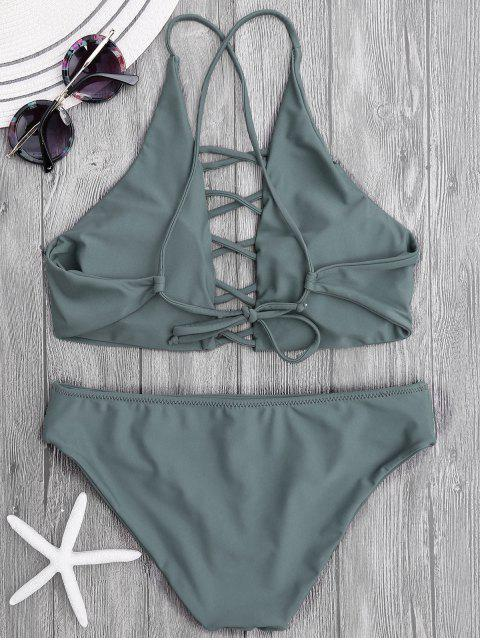 Tie Back Crisscross Strappy Bikini Set - Gris Ardoise S Mobile