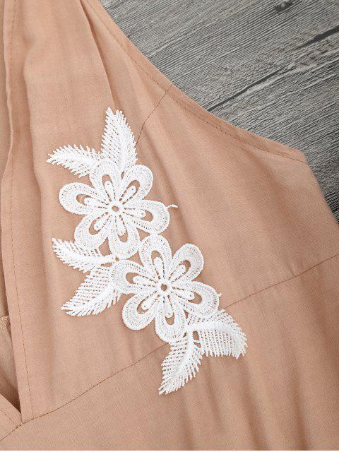 hot Floral Applique Drawstring Cover Up Romper - APRICOT M Mobile
