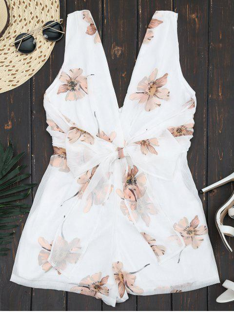 shops Double V Neck Sleeveless Beach Romper - WHITE L Mobile