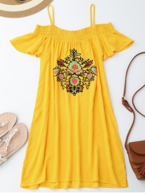 buy Floral Embroidered Cold Shoulder Mini Dress - YELLOW S Mobile
