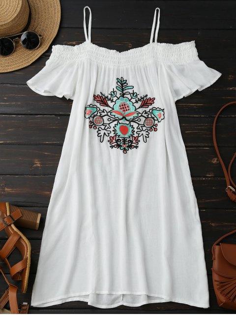 Mini robe à épaules dénudées avec broderie florale - Blanc S Mobile