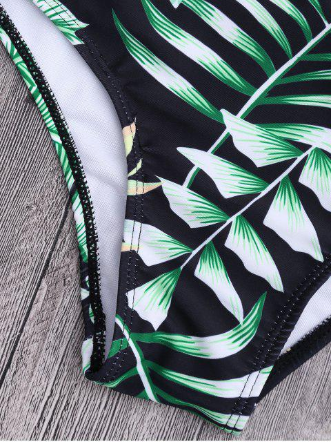 women Plunge Tropical Leaf Print Padded Swimsuit - FLORAL L Mobile
