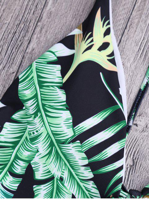 ladies Plunge Tropical Leaf Print Padded Swimsuit - FLORAL S Mobile