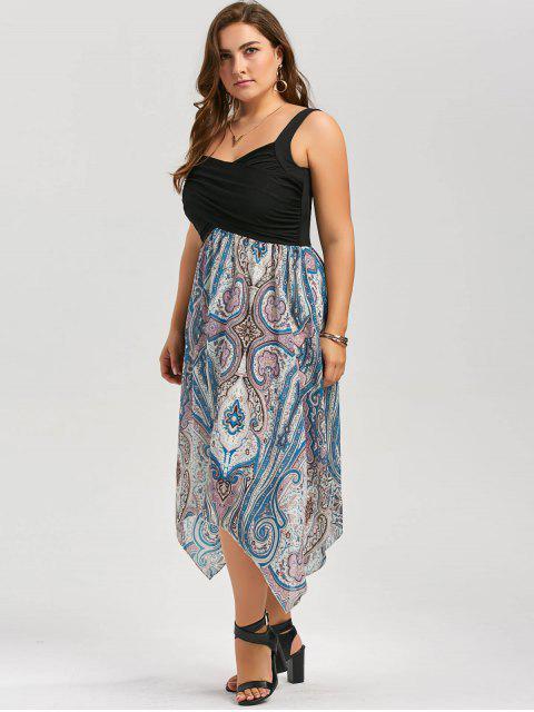 shop Plus Size Sweetheart Neck Paisley Handkerchief Dress - COLORMIX 5XL Mobile