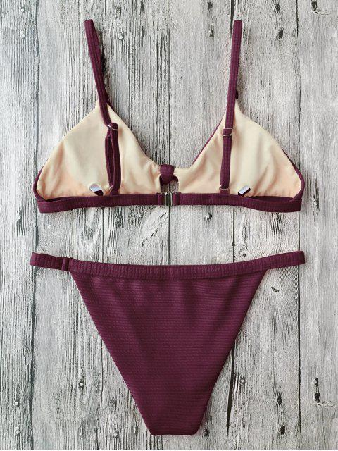 latest Front Tied Textured Thong Bikini Set - BURGUNDY S Mobile