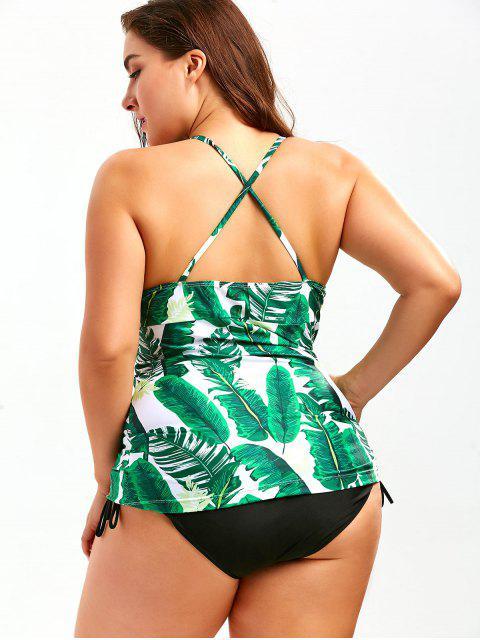 shop Backless Plus Size Palm Leaf Print Tankini - COLORMIX 2XL Mobile